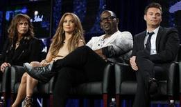 "<p>Judges Steven Tyler (L), Jennifer Lopez (2nd L) and Randy Jackson and host Ryan Seacrest (R)take part in a panel discussion for the show ""American Idol"" at the Fox Broadcasting Company Winter Press Tour 2011 for the Television Critics Association in Pasadena, California January 11, 2011. REUTERS/Lucy Nicholson</p>"