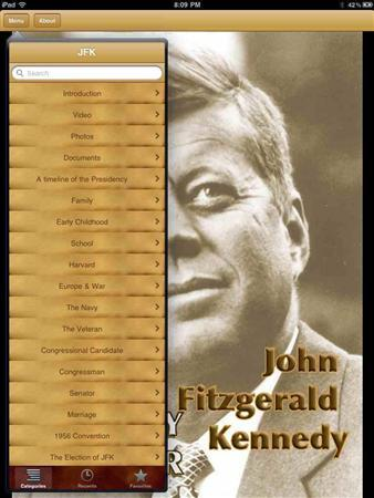 The JFK Historymaker iPad application is seen in this undated handout photo. REUTERS/Multiedcuator.net/Handout