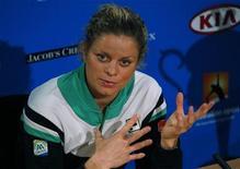 <p>Belga Kim Clijsters conquistou neste sábado do Aberto da Austrália. REUTERS/Petar Kujundzic</p>