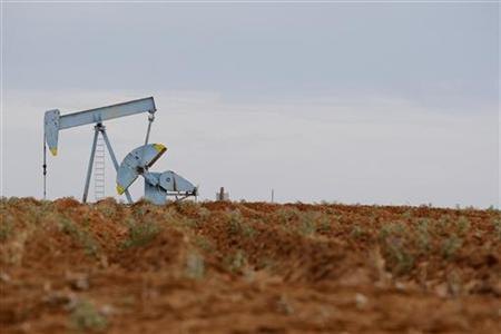 Oil rigs are seen in Midland, Texas May 9, 2008. REUTERS/Jessica Rinaldi