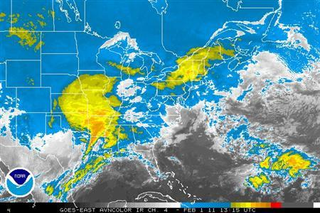 Storms systems are seen over the central US in an infrared satellite image taken February 1, 2011. REUTERS/NOAA/Handout