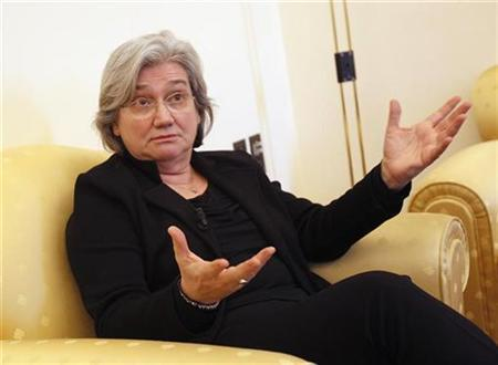 Italy's lower house vice speaker Rosy Bindi gestures during an interview with Reuters at Montecitorio palace in Rome January 26, 2011. REUTERS/Tony Gentile