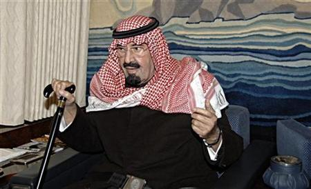 File picture shows Saudi Arabia's King Abdullah in his plane before his arrival in Casablanca January 22, 2011. REUTERS/Saudi Press Agency/Handout
