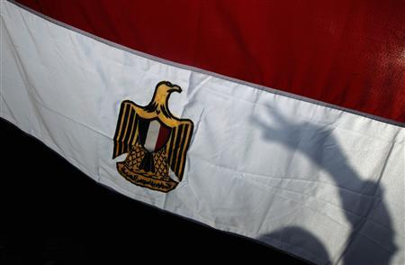 The shadow of a demonstrator making a peace sign is cast on an Egyptian flag during a rally in Trafalgar Square, in central London February 12, 2011. REUTERS/Luke MacGregor