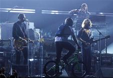 """<p>Canada's Arcade Fire perform """"Month of May"""" at the 53rd annual Grammy Awards in Los Angeles, California February 13, 2011. REUTERS/Lucy Nicholson</p>"""