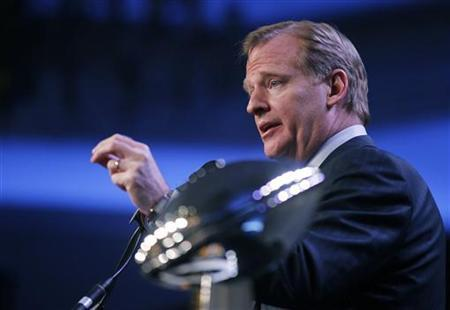 NFL Commissioner Roger Goodell speaks at his annual Super Bowl news conference in Dallas, Texas, February 4, 2011. REUTERS/Lucy Nicholson