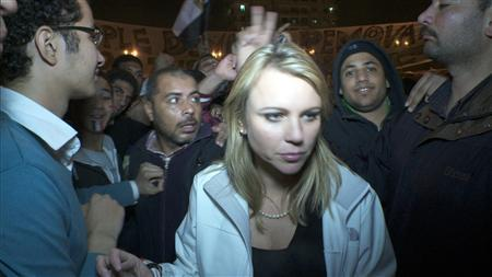 CBS Correspondent Lara Logan in Cairo's Tahrir Square moments before she was assaulted, in an image courtesy of CBS News. REUTERS/CBS News/Handout