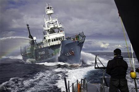 Japanese whaling fleet vessel Yushin Maru No. 3 (C) sprays water cannons at Sea Shepherd vessel ''Gojira'' during their clash in the Southern Ocean February 4, 2011. REUTERS/Simon Ager/Sea Shepherd/Handout