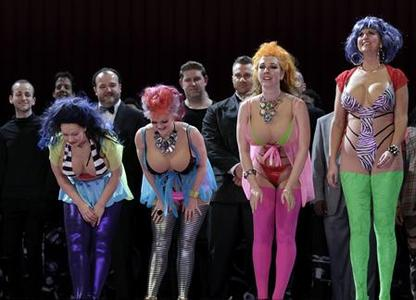 Cast members take a curtain call after performing in the opening night of the opera based on the life of Anna Nicole Smith, at the Royal Opera House in central London, February 17, 2011. REUTERS/Andrew Winning