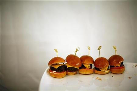 Sliders (small burgers) are seen backstage before the Herve Leger by Max Azria Fall/Winter 2011 collection show during New York Fashion Week February 15, 2011. REUTERS/Eric Thayer