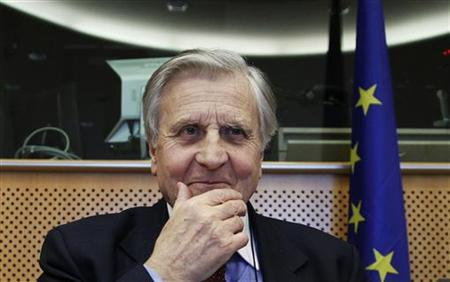 European Central Bank (ECB) President Jean-Claude Trichet looks on before addressing the European Parliament Economic and Monetary Affairs Committee in Brussels February 7, 2011. REUTERS/Francois Lenoir
