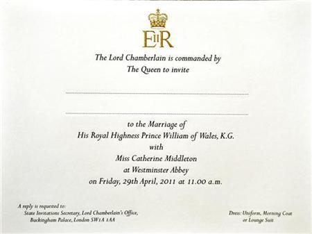 An invitation card for the wedding of Prince William and Kate Middleton is seen at Buckingham Palace in London February 16, 2011. REUTERS/John Stillwell/POOL