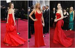 <p>Combination photo of actors Anne Hathaway (L-R), Jennifer Lawrence and Sandra Bullock arriving at the 83rd Academy Awards in Hollywood, California, February 27, 2011. REUTERS/Staff</p>