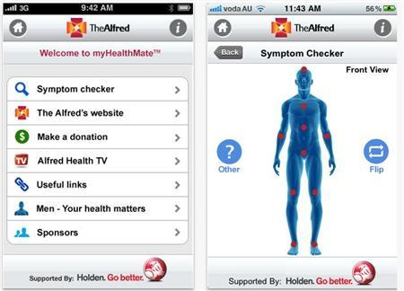 Screenshot of the iPhone app ''myHealthMate'', launched by The Alfred hospital, Melbourne. Picture obtained on 28 February, 2011. REUTERS/HANDOUT