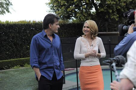 Actor Charlie Sheen talks to ABC News' Andrea Canning in Los Angeles, February 26, 2011. REUTERS/ABC News