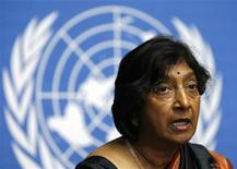 <p>U.N. High Commissioner for Human Rights Navi Pillay addresses a news conference after the first day of the Durban Review Conference on racism at the United Nations European headquarters in Geneva, April 20, 2009. REUTERS/Denis Balibouse</p>