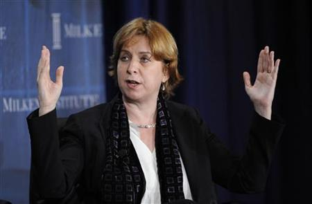 Vivian Schiller, President and CEO of National Public Radio (NPR), participates in the ''The Future of Journalism: Who's Going to Report the News?'' panel at the 2010 Milken Institute Global Conference in Beverly Hills, California April 28, 2010. REUTERS/Phil McCarten