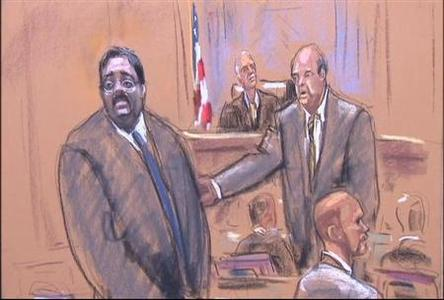 Raj Rajaratnam is seen during his trial in New York in this artist sketch. REUTERS/Jane Rosenberg/Handout