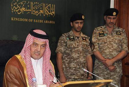 Saudi Arabia's Foreign Minister Prince Saud al-Faisal speaks during a news conference in Jeddah March 9, 2011. REUTERS/Susan Baaghil