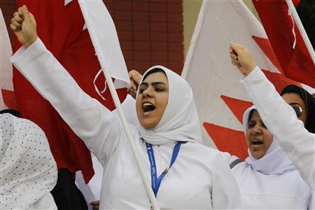 Nurses from the Sulmaniya Hospital shout anti-government slogans while protesting in front of the United Nations building in Manama March 10, 2011. REUTERS/Hamad I Mohammed