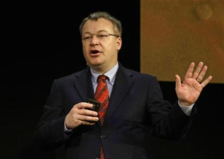 Nokia President and CEO Stephen Elop delivers a speech at the GSMA Mobile World Congress in Barcelona February 16, 2011. REUTERS/Gustau Nacarino