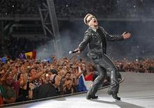 <p>Lead singer Bono of Irish rock band U2 performs during their 360 Degree Tour at Olympic stadium in Athens, September 3, 2010. REUTERS/John Kolesidis</p>