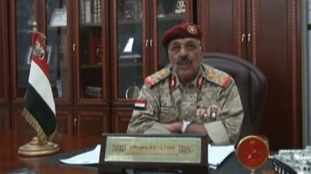 General Ali Mohsen, commander of Yemen's northwest military zone, announces on television that his unit will be joining the non-violent revolution, March 21, 2011. REUTERS/Handout via Reuters TV