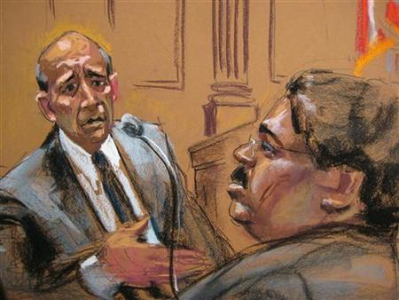 Lloyd Blankfein, (L) Goldman Sachs Group Inc Chief Executive, is seen in this courtroom sketch testifying in Manhattan Federal Court as Raj Rajaratnam looks on during his insider trading case in New York, March 23, 2011. REUTERS/Jane Rosenberg