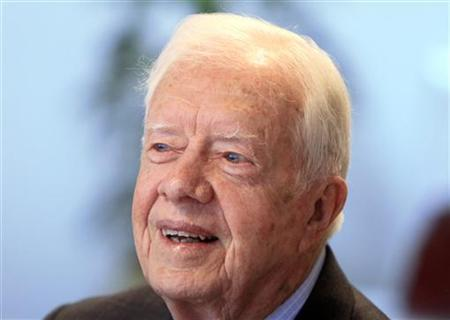 Referendum observer and former President Jimmy Carter speaks during an interview in Khartoum January 15, 2011. REUTERS/Mohamed Nureldin Abdallah