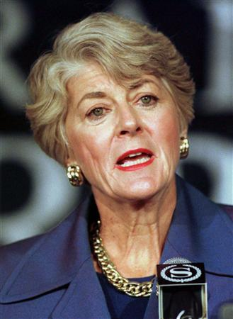 Former Democratic vice presidential candidate Geraldine Ferraro announces that she will seek her party's nomination to challenge Republican Alphonse D'Amato for his U.S. Senate seat in New York in this file photo from January 5, 1998. REUTERS/Peter Morgan/Files