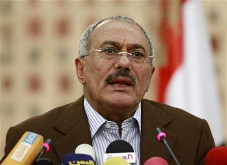 Yemen's President Ali Abdullah Saleh addresses a news conference in Sanaa March 18, 2011. REUTERS/Khaled Abdullah