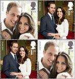 <p>A set of commemorative stamps, to celebrate the wedding of Britain's Prince William and Kate Middleton, is seen in this photograph received in London on March 28, 2011. The stamps, which feature photographs of the couple by Mario Testino, will be available from April 21. REUTERS/Royal Mail/Handout</p>