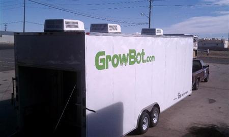 A pot-growing trailer known as the ''GrowBot'' is shown in this undated publicity handout released to Reuters April 5, 2011. REUTERS/Courtesy Growbot/Handout