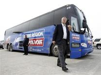<p>Conservative leader and Prime Minister Stephen Harper leaves his campaign bus with his wife Laureen before boarding his plane in Saint-Hubert, Quebec April 10, 2011. REUTERS/Chris Wattie</p>