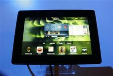 <p>A new Blackberry tablet, the PlayBook tablet computer, is displayed at the GSMA Mobile World Congress in Barcelona February 16, 2011. REUTERS/Gustau Nacarino</p>