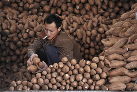 A vendor arranges sweet potatoes at a market in Beijing April 15, 2011. REUTERS/Stringer