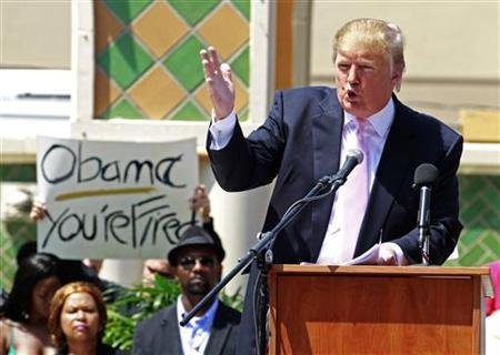 Property magnate and reality TV star Donald Trump speaks at a South Florida Tea Party rally in Boca Raton, Florida, April 16, 2011. REUTERS/Joe Skipper