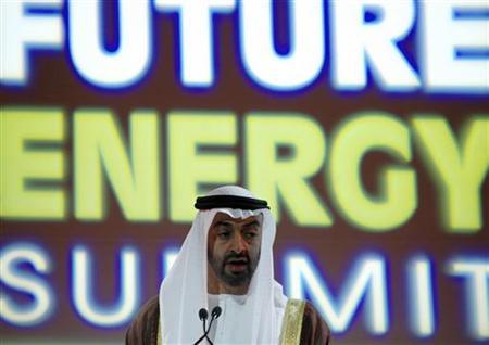 Crown Prince of Abu Dhabi Armed Forces Sheikh Mohammed bin Zayed al-Nahayan delivers the official opening address at the inaugural World Future Energy Summit (WFES) at the Abu Dhabi National Exhibition Centre, January 21, 2008. REUTERS/ Jumana El Heloueh