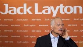 <p>NDP Leader Jack Layton speaks to the media following a campaign stop in downtown Montreal April 23, 2011. Canadians will go to the polls in a federal election on May 2. REUTERS/Christinne Muschi</p>