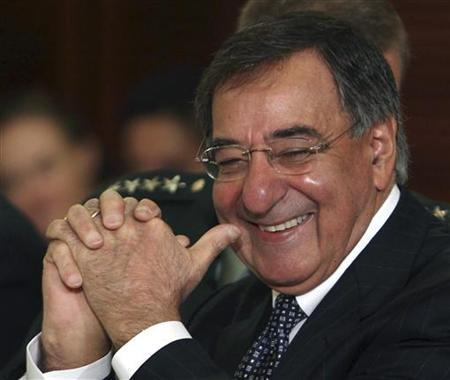 Director of the CIA Leon Panetta waits for U.S. Secretary of State Hillary Clinton and Afghanistan President Hamid Karzai before a USA-Afghanistan expanded bilateral meeting at the U.S. State Department in Washington May 11, 2010. REUTERS/Larry Downing