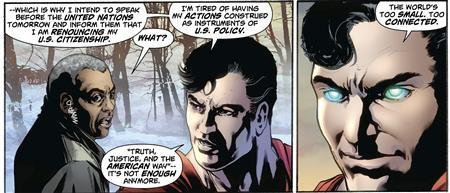Superman is seen in this panel from the Action Comics issue #900 is shown in this publicity photo released to Reuters April 28, 2011. The Man of Steel, in the latest issue of Action Comics which hit newsstands on April 27, 2011, said he intends to renounce his U.S. citizenship in a speech before the United Nations. REUTERS/DC Comics/Handout