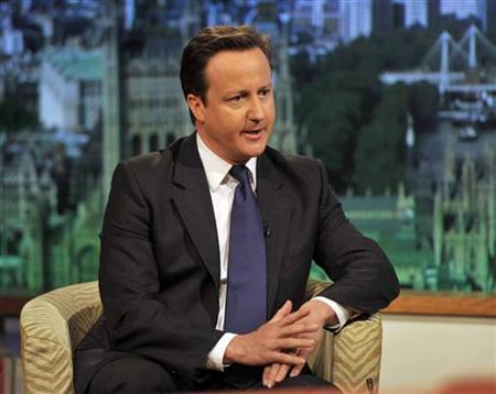 Prime Minister, David Cameron, speaks on the BBC's Andrew Marr Show, in London May 1, 2011. REUTERS/Jeff Overs/BBC/Handout