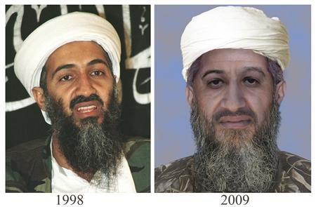 An ''age progressed'' combination photo of Osama Bin Laden (Usama bin Ladin) provided by the U.S. Department of State and the FBI on January 15, 2010. The digitally enhanced pictures of Osama bin Laden shows how the al Qaeda leader might in 2009. REUTERS/U.S. State Department/Handout/Files