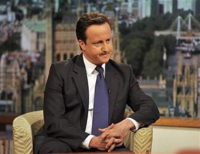 Britain's Prime Minister, David Cameron, appears on the BBC's Andrew Marr Show, in London May 1, 2011. REUTERS/Jeff Overs/BBC/Handout