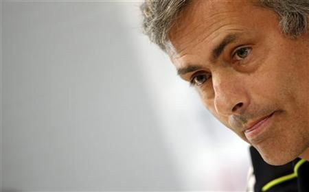 Real Madrid's coach Jose Mourinho reacts during his news conference after a training session at club's grounds in Madrid April 29, 2011. REUTERS/Sergio Perez