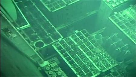 Fuel rods are seen inside the spent fuel pool of the Fukushima Daiichi nuclear plant reactor 4 in this still image taken from video and released by Okyo Electric Power (TEPCO) on April 30, 2011. Mandatory credit REUTERS/TEPCO/Handout