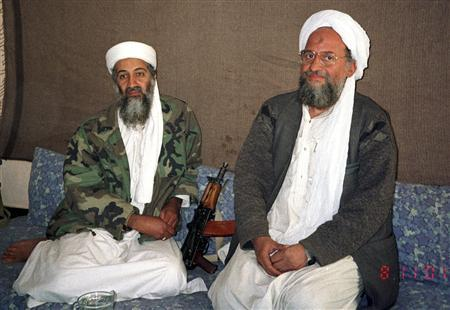 Osama bin Laden (L) sits with his adviser and purported successor Ayman al-Zawahri, an Egyptian linked to the al Qaeda network, during an interview with Pakistani journalist Hamid Mir (not pictured) in an image supplied by the respected Dawn newspaper November 10, 2001. REUTERS/Hamid Mir/Editor/Ausaf Newspaper for Daily Dawn/Files