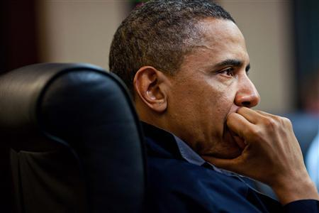 President Obama listens during one in a series of meetings discussing the mission against Osama bin Laden, in the Situation Room of the White House, May 1, 2011. REUTERS/White House/Pete Souza