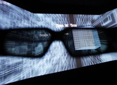 A 3D display is seen through 3D glasses during a demonstration by virtual reality contents and technology provider Solidray Co at the 3D and Virtual Reality Expo in Tokyo June 23, 2010. REUTERS/Yuriko Nakao