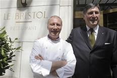 "<p>Didier Le Calvez (R), director of Hotel Le Bristol, and Eric Frechon, chef of Hotel Le Bristol and third Michelin star, pose before a ceremony for the ""Palace"" distinction at the Hotel Le Bristol in Paris May 5, 2011. REUTERS/Jacky Naegelen</p>"